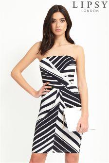 Lipsy Stripe Bandeau Dress