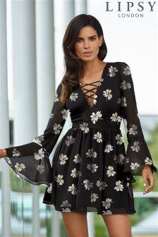 Lipsy Long Sleeve Floral Print Skater Dress