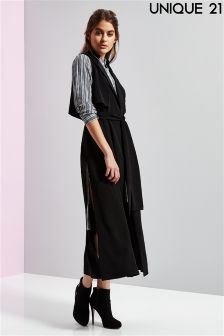 Unique 21 Ruby Sleeveless Trench With Side Splits