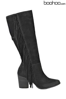 Boohoo Heeled Fringed Suede Boot