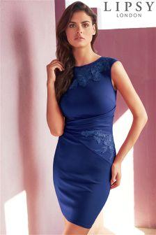 Lipsy Asymmetric Lace Trim Bodycon Dress