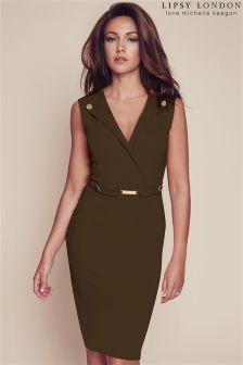 Lipsy Love Khaki Michelle Keegan V-neck Button Detail Bodycon Dress