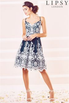 Lipsy Embroidered Cami Prom Dress