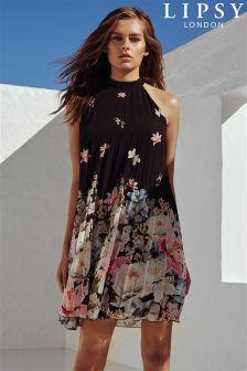 Lipsy Floral Print Pleated Swing Dress
