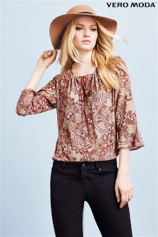 Vero Moda Paisley Print Tie Blouse
