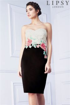 Lipsy Embroidered Rose Bandeau Dress