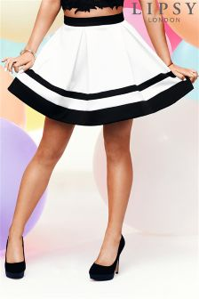 Ariana Grande For Lipsy Stripe Mini Skater Skirt