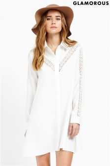 Glamorous Lace Detail Shirt Dress