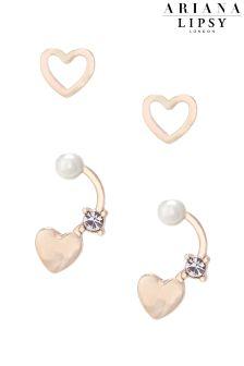 Ariana Grande For Lipsy Heart 2 Pack Pearl Earrings