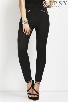 Lipsy High Zip Suedette Legging
