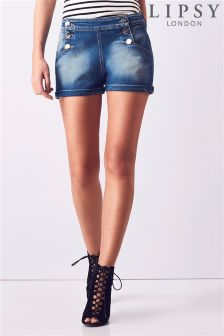 Lipsy Light Wash Denim Sailor Shorts