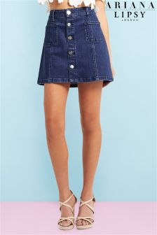 Ariana Grande For Lipsy Button A line Denim Skirt