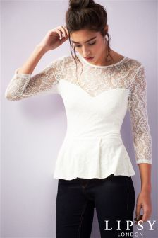 Lipsy Lace Peplum Top