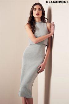 Glamorous Knitted Zip Back Mini Dress