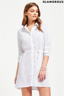 Glamorous Tie Waist Shirt Dress