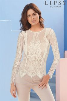 Lipsy Lace Frill Front Blouse