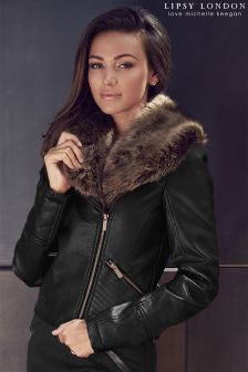 Lipsy Love Michelle Keegan Faux Fur PU Jacket