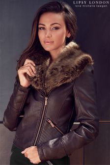 Lipsy Love Michelle Keegan Oxblood Red Faux Fur PU Jacket