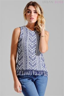 Urban Bliss Knitted Fringe Tabbard Vest