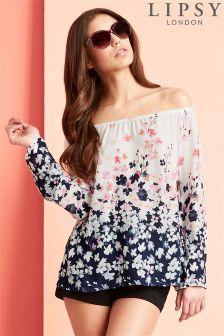 Lipsy Floral Long Sleeve Bardot Top