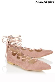 Glamorous Ghillie Lace Up Pointed Ballerina Pumps