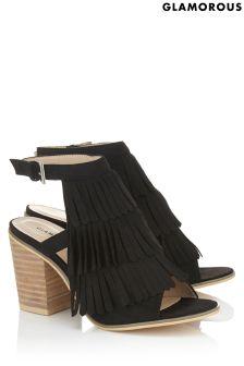 Glamorous Fringed Block Heel Sandals