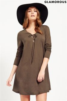 Glamorous Tie Neck Jersey Dress