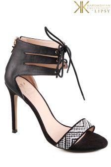 Kardashian Kollection Tie Peep Toe Heeled Sandal