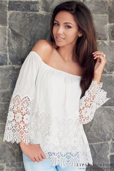 Lipsy Love Michelle Keegan Lace Bardot Top