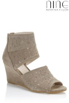 Nine By Savannah Miller Suede Mid Wedge Sandal