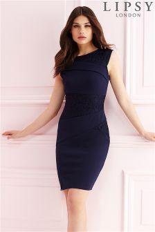 Lipsy Lace Asymmetric Pleat Dress
