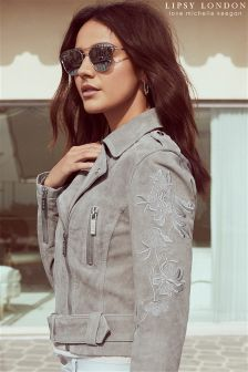 Lipsy Love Michelle Keegan Embroidered Suede Biker Jacket