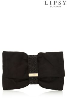 Lipsy Black Diamanté Soft Bow Clutch