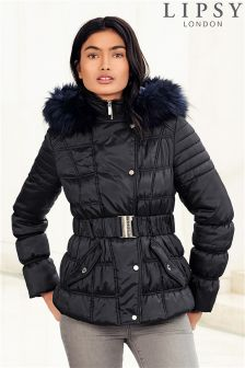 Lipsy Short Belted Faux Fur Puffer Jacket