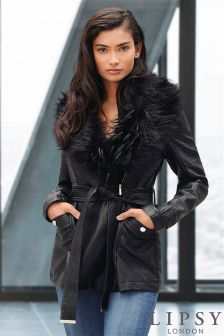 Lipsy Faux Leather With Faux Fur Collar Coat