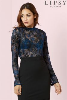 Lipsy Long Sleeve All Over Lace Top