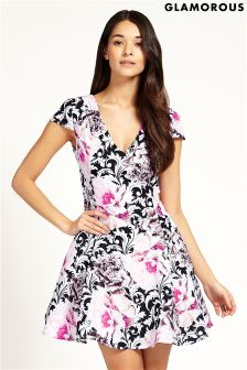 Glamorous V neck Print Skater Dress