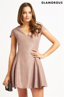 Glamorous V neck Skater Dress