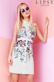 Lipsy Floral Border Shirt Dress