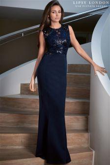 Lipsy Love Michelle Keegan Sequin Swirl Maxi Dress
