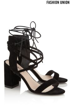 Fashion Union Single Strap Mid Heel Sandals