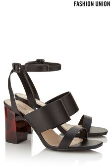 Fashion Union Mid Wood Heel Double Strap Sandals