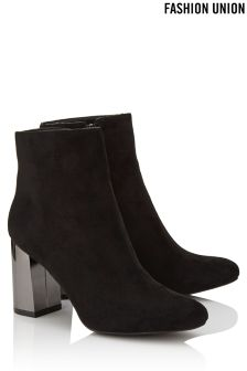 Fashion Union Contrast Heel Boots