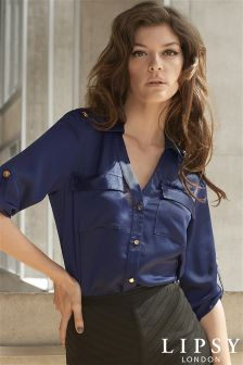 Lipsy Military Detail Satin Shirt