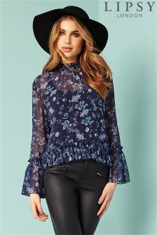 Lipsy Printed Bell Sleeve Blouse