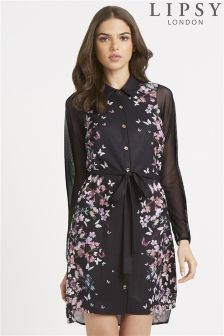Lipsy Floral Long Sleeve Shirt Dress