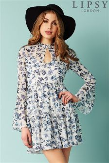 Lipsy Floral Long Sleeve Smock Dress