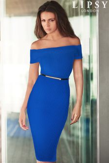 Lipsy Love Michelle Keegan Blue Rib Belt Bardot Dress