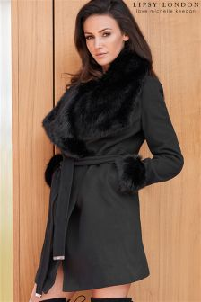 Lipsy Loves Michelle Keegan Faux Fur Wrap Coat