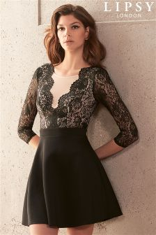 Lipsy Lace Deep V neck Skater Dress